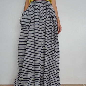 Women Convertible Long Skirt Or Pants, Casual Wide Legs,Gray stripe In Cotton Blend  (Skirt WS-3).