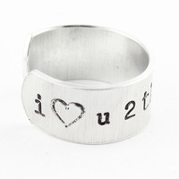 I Love You to the Moon and Back Adjustable Ring - Hand Stamped Ring - Custom Ring
