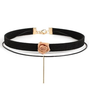 Streetstyle  Casual Layers Rose Choker Necklace