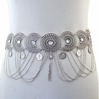 2 Colors Summer Beach Hollow Out Flower Fashion Waist Chain Crystal Rhinestone Sexy Belly Body Chain Women Jewelry Free Shipping