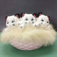 Kittens in Fur Lined Ceramic Basket, Kitschy Kitties, Kitsch Cat Figurines, Vintage Knick Knacks, Kitty Cats