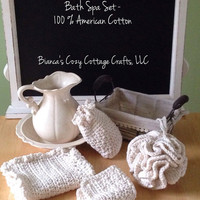 Cotton-SPA-Bath-Set - crochet spa set - crochet bath and beauty - organic cotton set - shower gift set - organic skin care - beauty gift set
