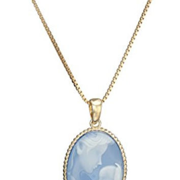 18k Yellow Gold over Sterling Silver and Blue Agate Mother and Child Cameo Pendant Necklace, 18""