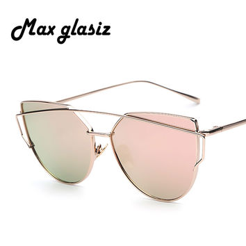 New 2016 Women Luxury CatEye Sunglasses Metal Women Sunglasses Mirror Alloy Frame Strain Outdoor UV400 lunette de soleil