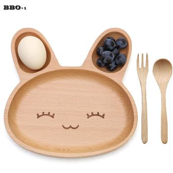 Cute Rabbit Face Wood Dinner Plate Wood Fork Spoon Kids Cartoon Pattern Food Fruit Dish Tray Child Baby Serving Wood Plate