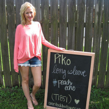 Peach echo Long Sleeve Scoop Neck Piko Shirt On Sale | Overstock Boutiques
