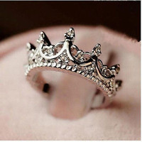 Fashion Elegant Queen Silver Crown Clear Crystal Ring Gift