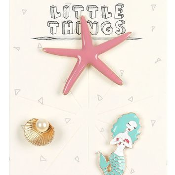 3 Piece Mermaid Starfish and Pearl Shell Pin Brooch Set