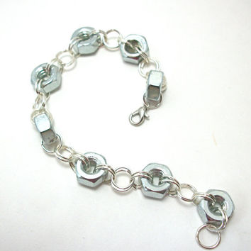 Chainmaille Industrial Hex Nut Bracelet FREE by moonknightjewels