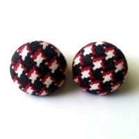 Retro black white and red houndstooth fabric button earrings