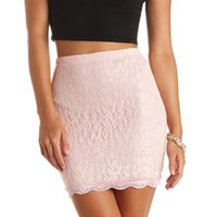Scalloped Lace Bodycon Mini Skirt by Charlotte Russe - Scallop Shell