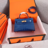 HCXX 19June 591 Hermes mini kelly second generation Crocodile pattern Fashion Handbag blue