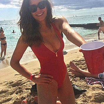 Tourtownbeach: HOT RED ONE PIECE DEEP V ZIPPER BIKINI vest type  SWIMWEAR BATH SUIT