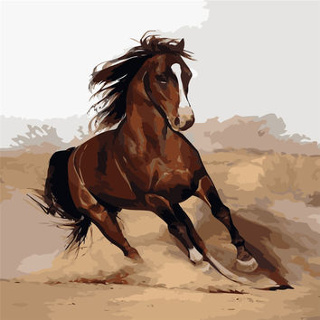 Running Horse Painting By Numbers On Canvas DIY Unique Digital Home Decor Coloring By Numbers Picture Gift Painting Wall Painted