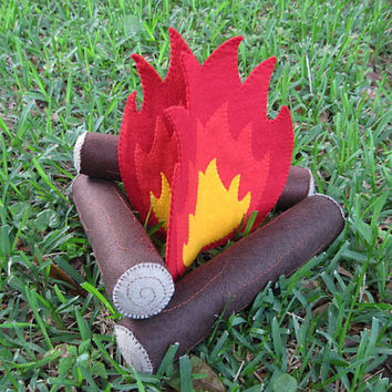 Felt Campfire, Camping Play Set, Handmade Toy, Fire and Logs