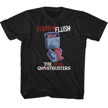 The Real Ghostbusters Kids T-Shirt Fearsome Flush Black Tee