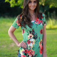 Short Sleeve Sage Top with Floral Print