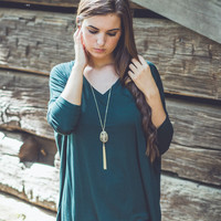3/4 V-Neck Piko in Hunter Green