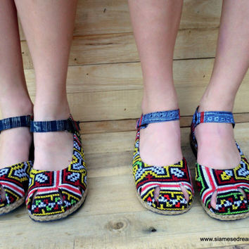 Ethnic Hmong  Red and Yellow Embroidered Mary Jane Espadrille Vegan Womens Shoe