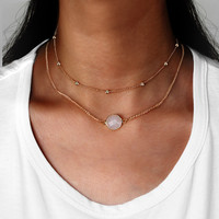 Jewelry Stylish New Arrival Shiny Gift Glass Double-layered Hot Sale Necklace [11485881871]