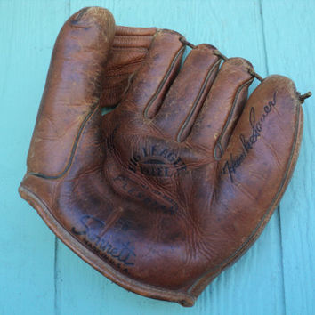 Baseball Glove Sonnett 66 Hank Sauer Big League Model Mitt Deep Cup Pocket Genuine Flexotan 1950's Style Baseball Glove