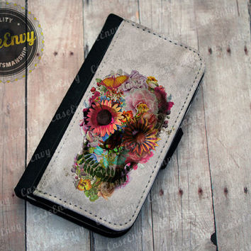 Grunge Style Floral Skull iPhone 4 / 4s Wallet case