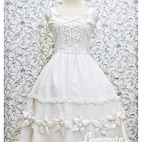 White Chiffon with Flower Ornament Classic Victorian Dress