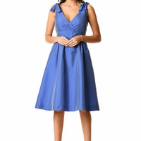 Shoulder ties surplice taffeta dress