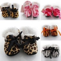 Newborn Baby Girls Crib Shoes Winter Warm Boots Infant Toddler Soft Sole Booties