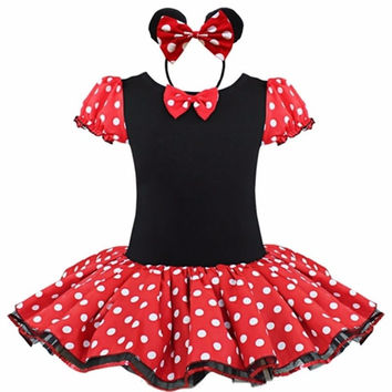 2016 Kids Gift Minnie Mouse Party Fancy Costume Cosplay Girls Ballet Tutu Dress + Ear Headband Girls Polka Dot Dress Clothes Bow