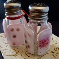 Pink Dot Glass Salt and Pepper Shakers