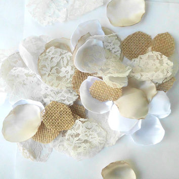 Wedding Decoration Burlap Flower Petals, Lace Satin Custom Color Wedding Flower Petal Shabby Chic Bridal Decor Table Scatter flower girl