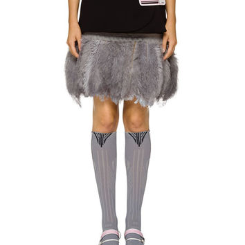 Prada Match Mini Skirt w/ Faux-Feather Hem
