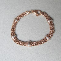 Rose Gold Plated Sterling Silver Byzantine Link Vintage Italian Bracelet, Diamond Studded Silver Bars