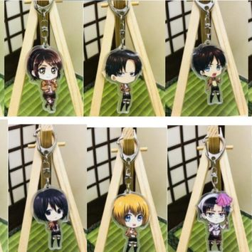 Cool Attack on Titan 10 pcs   Cartoon Anime   New AKeychain Acrylic Key Ring Charms Gift K81 AT_90_11
