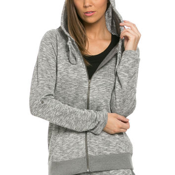 Lightweight French Terry Hoodie Jacket Charcoal