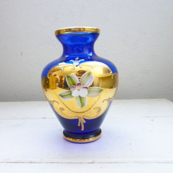 Blue glass vase, gold trim, floral vase, vintage blue vase, housewarming gift, wedding present, royal blue color, fragile vase, hand painted