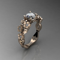 Nature Inspired 14K Rose Gold 1.0 Ct White Sapphire Diamond Floral Engagement Ring R1022-14KRGSDWS