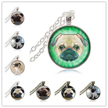 Puppy Dog Jewelry Pug Necklace English Bulldog Pendant Glass Dome Time Gem Choker Best Friends Jewelry Gift for Animal Lover HZ1