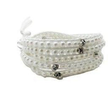 Chan Luu Style Wrap Bracelet White Leather Pearls and Skull Beads