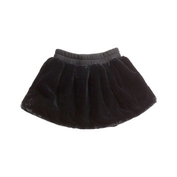 OMAMImini Circle Faux Fur Skirt - Black -