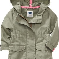 Hooded Twill Jackets for Baby
