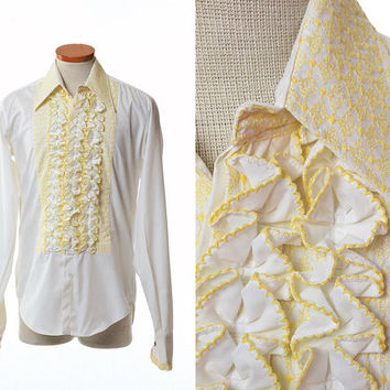 Vintage 70s After Six Embroidered Ruffle Tuxedo Shirt 1970s French Cuff White + Yellow Embroidery Wedding Prom Disco Dress Shirt / Mens M