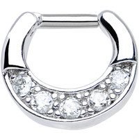 """14 Gauge 1/4"""" Five Round Clear Cubic Zirconia Septum Clicker 