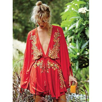 Boho Chic Deep V-neck Batwing Sleeve Embroidered Mini Dress