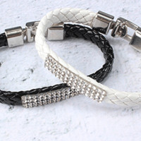Braided Leather Bracelet with Crystals