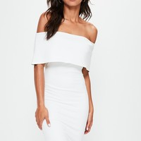 Missguided - White Cut Out Back Longline Overlay Midi Dress