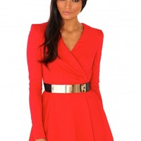 Missguided - Rosa Crossover Skater Dress In Red