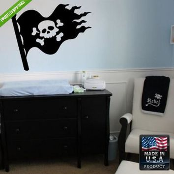 Wall Vinyl Decal Decal Sticker Beautiful Cute Kids Pirate Flag Bedroom  z102
