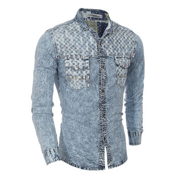 2016 New Top Fashion Personality Plaid Full Sleeve Single Breasted Turn Down Collar Grinding Washing Denim Casual Men Shirts X7